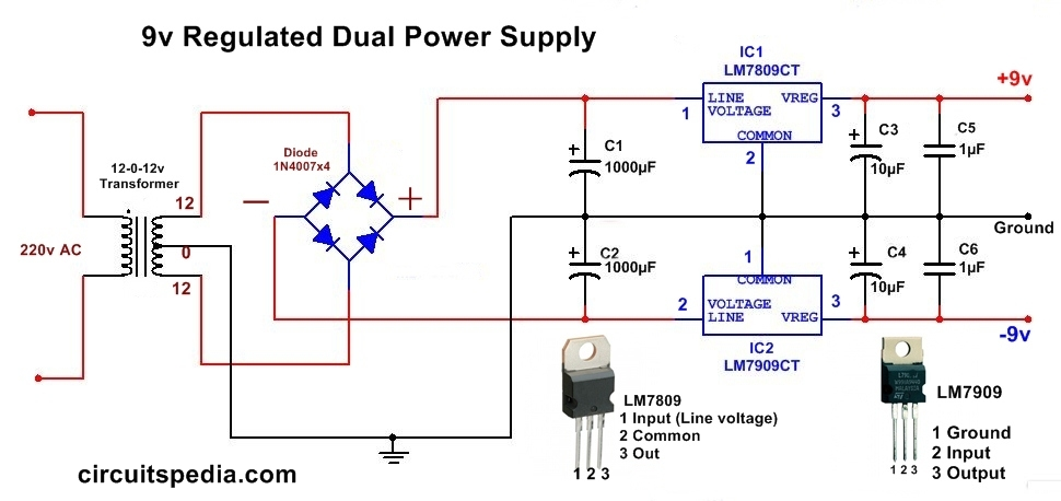 dc dual power supply circuit diagram,12v,15v, 9v regulated dual9v dc  regulated