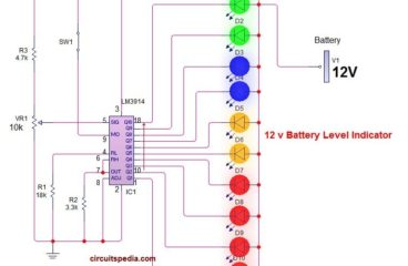 12v Battery Level Indicator With LM3914 ic