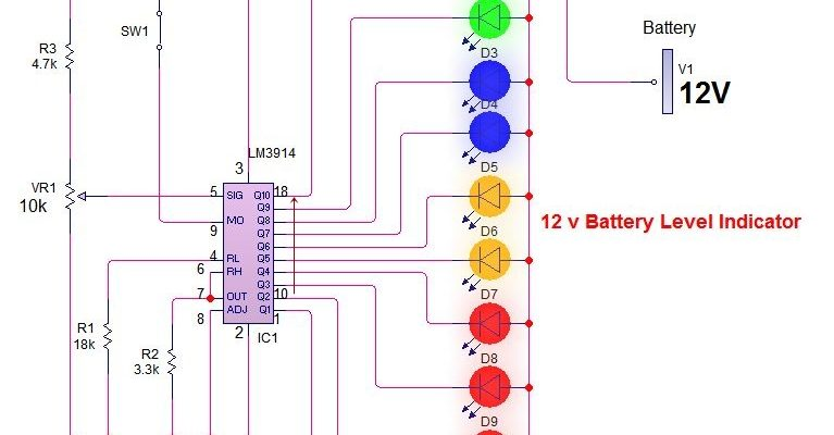 LM3914 12v battery voltage level indicator circuit diagram