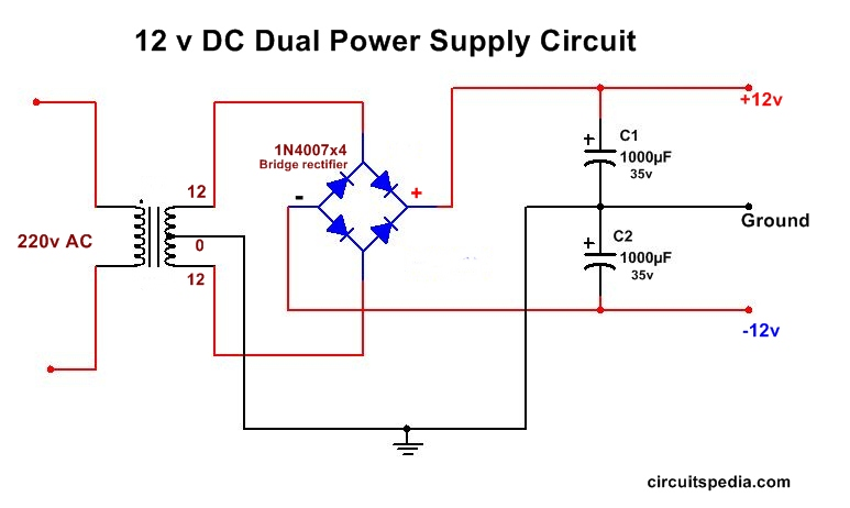 Dc Dual Power Supply Circuit Diagram 12v 15v  9v Regulated Dual Power Supply