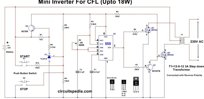 12v cfl inverter circuit simple cfl inverter circuit diagram rh circuitspedia com CFL Starter Circuit simple cfl inverter circuit diagram