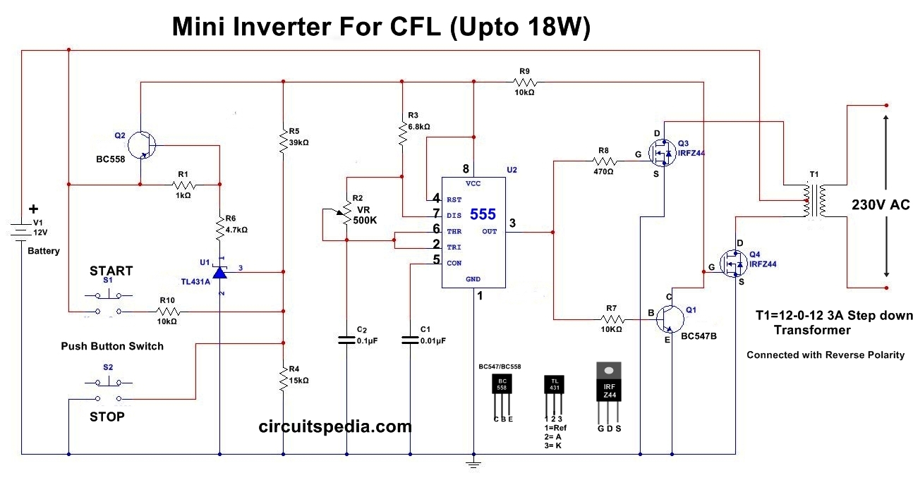 CFL Supply Driver inverter Circuit