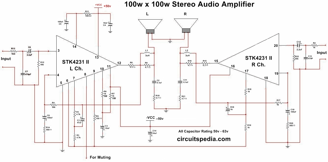 Stk4231 Ii 100w Stereo Audio Amplifier Circuit Diagram 100 22 Watt Stk