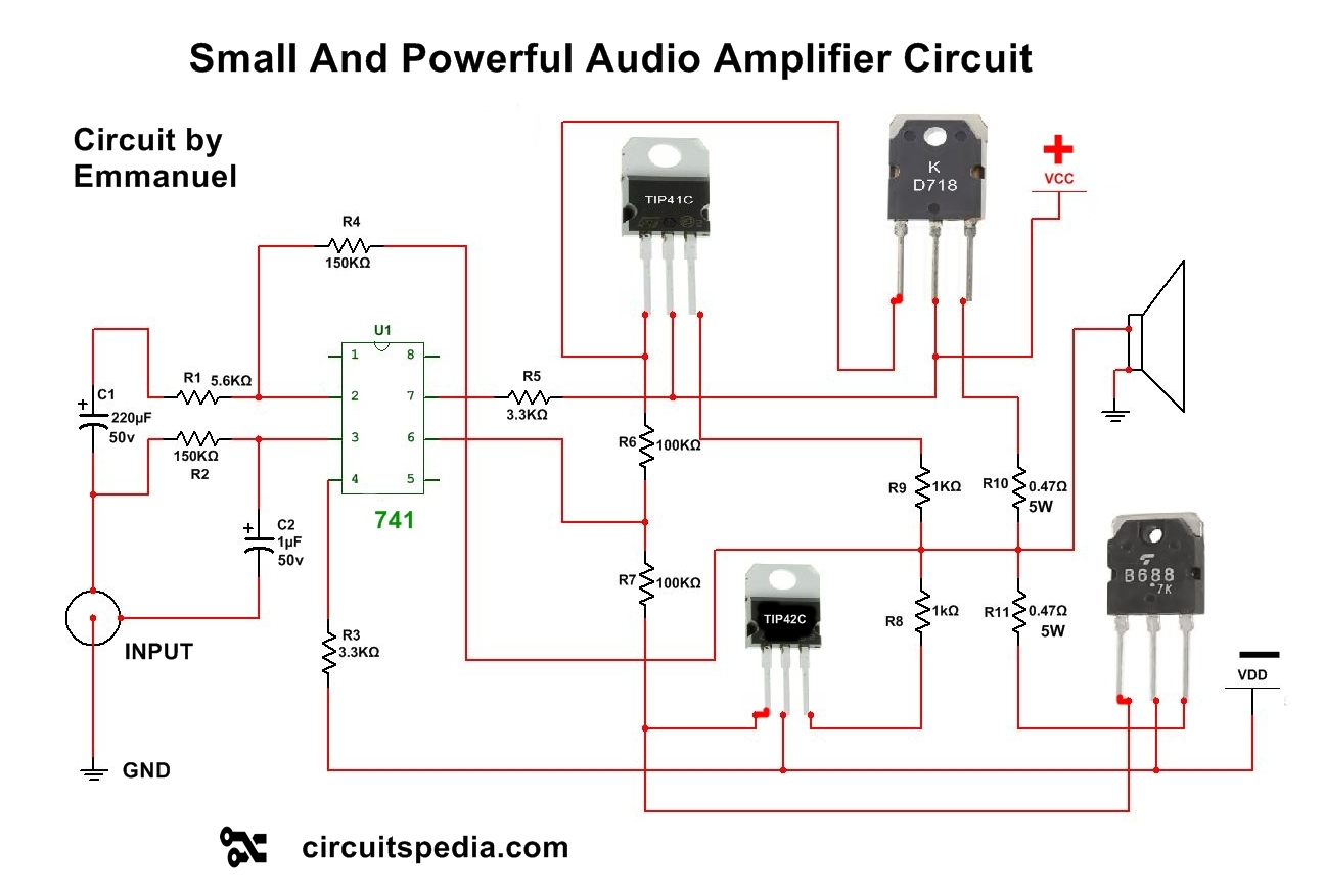 4558 ic Circuit Diagram | Audio Power Amplifier | Amplifier Circuit