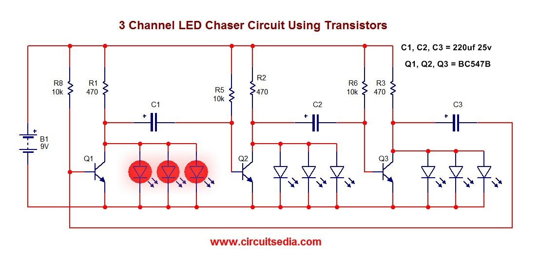 3 led flasher circuit using transistors