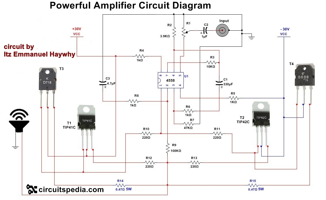 4558 powerful audio amplifier circuit