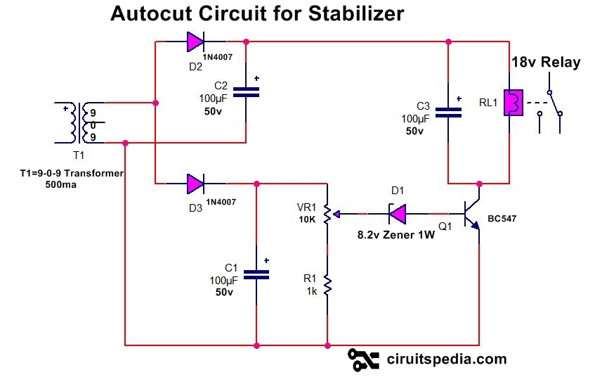 Auto cut stabilizer circuit diagram