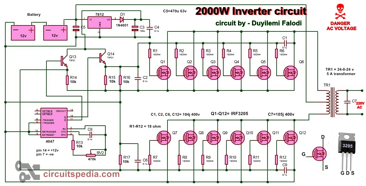 2000w inverter circuit diagram high power inverter circuit. Black Bedroom Furniture Sets. Home Design Ideas