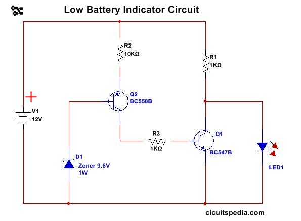 battery low level indicator circuit