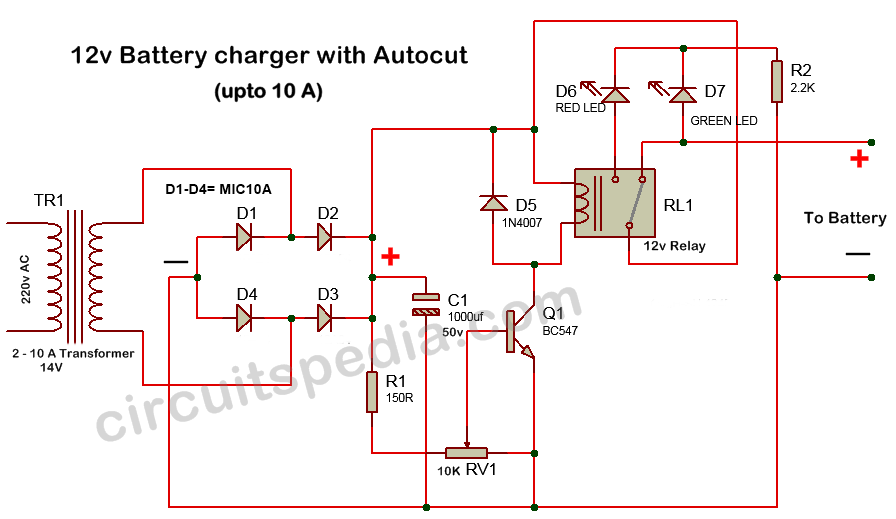 12v battery charger | 12v battery charger with auto cut off circuit on