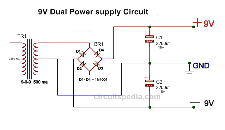 dual power supply circuit diagram 9v for audio circuit