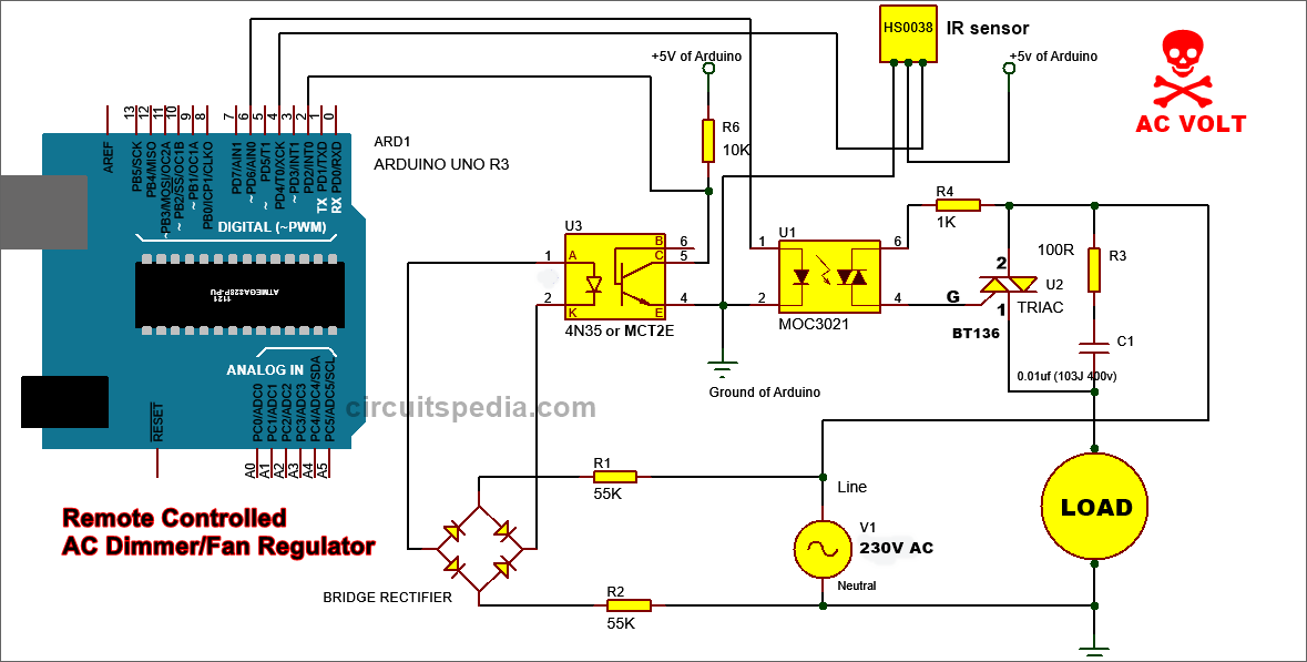 Remote controlled Fan Regulator AC dimmer circuit