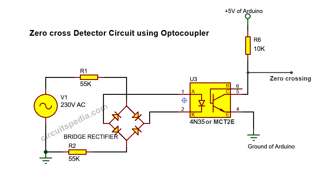 Zero crossing detector circuit using optocoupler