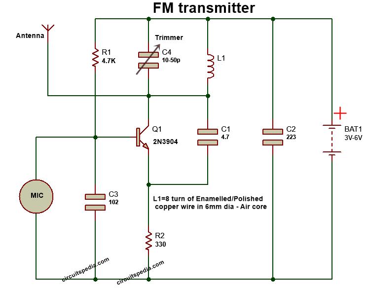 mini fm transmitter circuit diagram